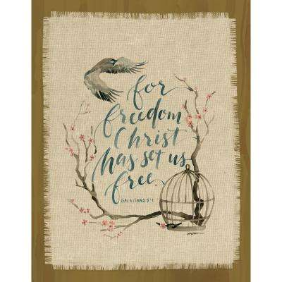"GraceLaced for Carpentree ""For Freedom Christ has set us free.  Galatians 5:1"" Printed Fringe Canvas on Wood Plaque"
