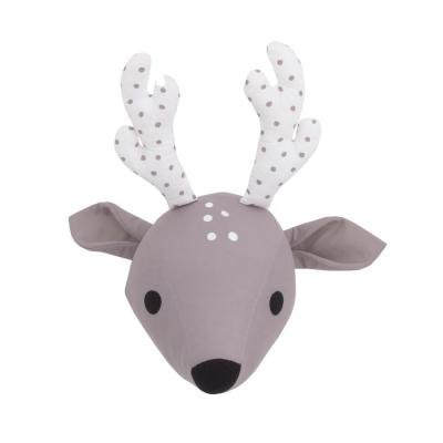 Taupe and White Deer Plush Head Wall Decor