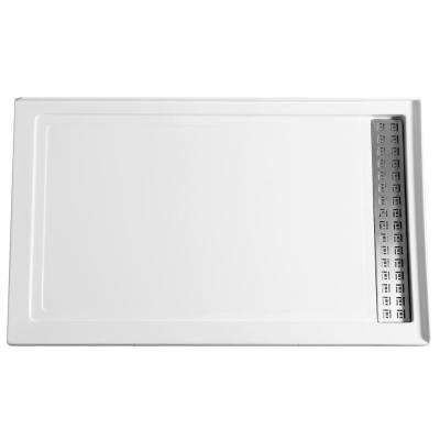 Field Series 60 in. x 36 in. Double Threshold Shower Base in White