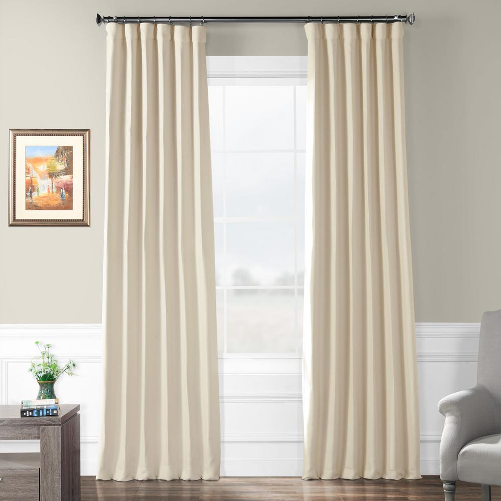 Exclusive Fabrics & Furnishings Semi-Opaque Cottage White Bellino Blackout Curtain - 50 in. W x 120 in. L (Panel)