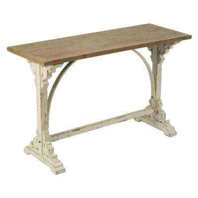 Natural Cream and Antique Wood Console Table