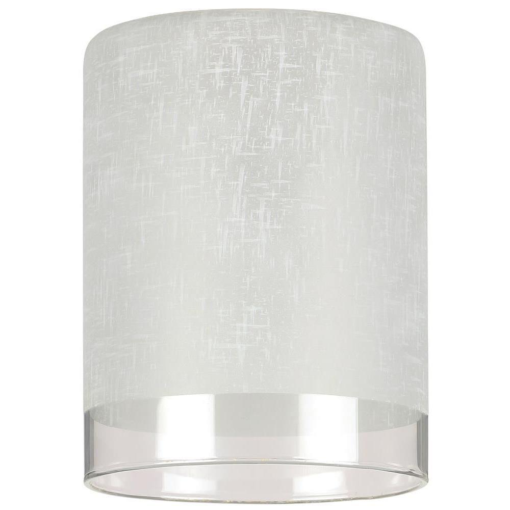 Light covers ceiling fan parts the home depot 5 18 in hand blown white linen cylinder shade with translucent mozeypictures Images