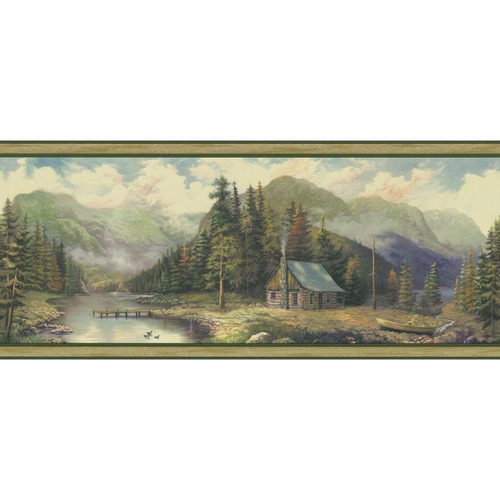 The Wallpaper Company 9 in. x 15 ft. Green Forest Lodge Scenic Border-DISCONTINUED
