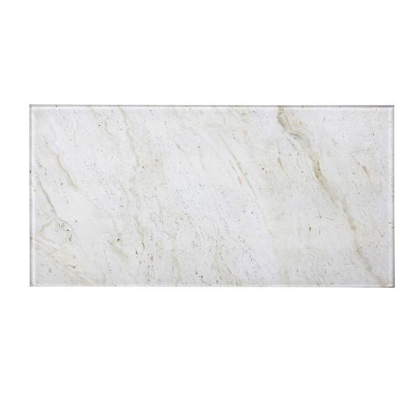 Handmade Décor Cream Marble Look Large Format 8 in. x 16 in. Glossy Glass Decorative Wall Tile  (6 Pc/Pk)
