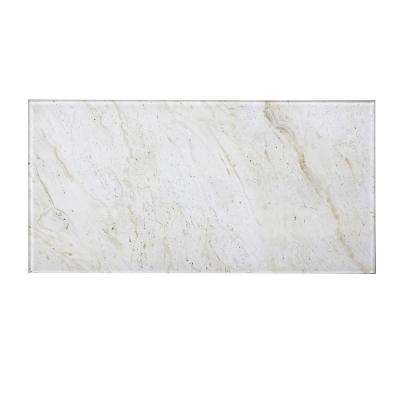"Subway 8"" x 16"" Crema Marfil Glossy Stone Look Glass Peel & Stick Decorative Bathroom Wall Tile Backsplash (6 Pc/Pack)"