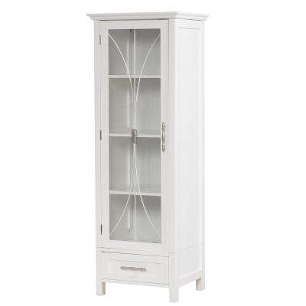 Victorian 17 in. W x 48-1/2 in. H x 13-1/2 in. D Bathroom Linen Storage Cabinet in White