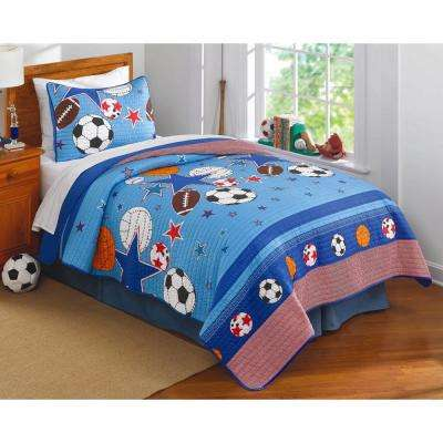 Sports and Stars Blue Queen Quilt with 2 Shams