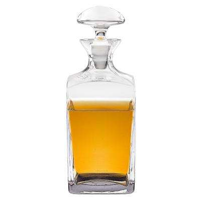 34 oz. 10.5 in. High Andre Square European Mouth Blown Scotch or Whiskey Lead Free Crystal Decanter