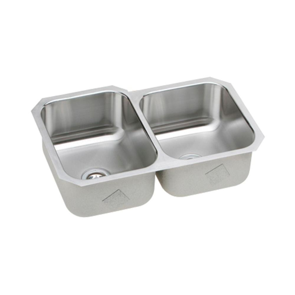 Elkay Signature Plus Undermount Stainless Steel 32 in. Double Bowl Kitchen Sink