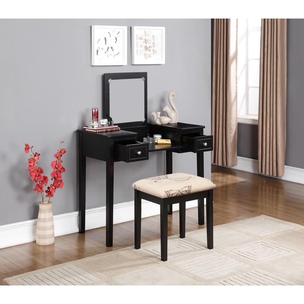 Delightful Linon Home Decor Black Bedroom Vanity Table With Butterfly Bench