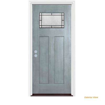 36 in. x 80 in. 1 Lite Craftsman Wendover Stone Stained Fiberglass Prehung Right-Hand Inswing Front Door w/Brickmould