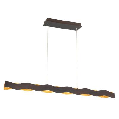 Ripple 56-Watt Bronze Chandelier Integrated LED with Metal Waves Shade