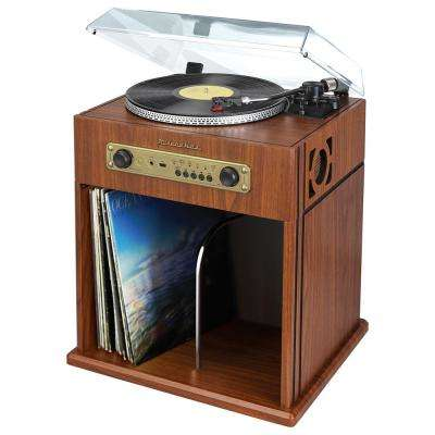 Stereo Turntable with Bluetooth Receiver and Record Storage Compartment