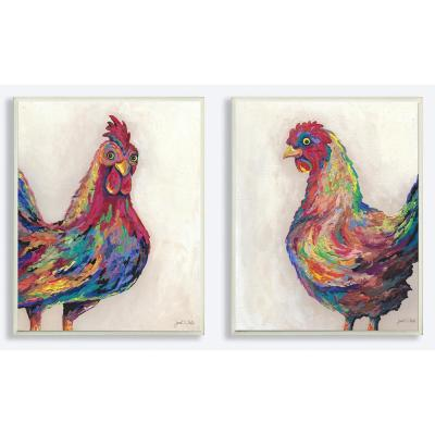 """10 in. x 15 in. """"Multicolored Rainbow Feathered Rooster Painting Duo"""" by Artist Janet White Wood Wall Art(2-pieces)"""