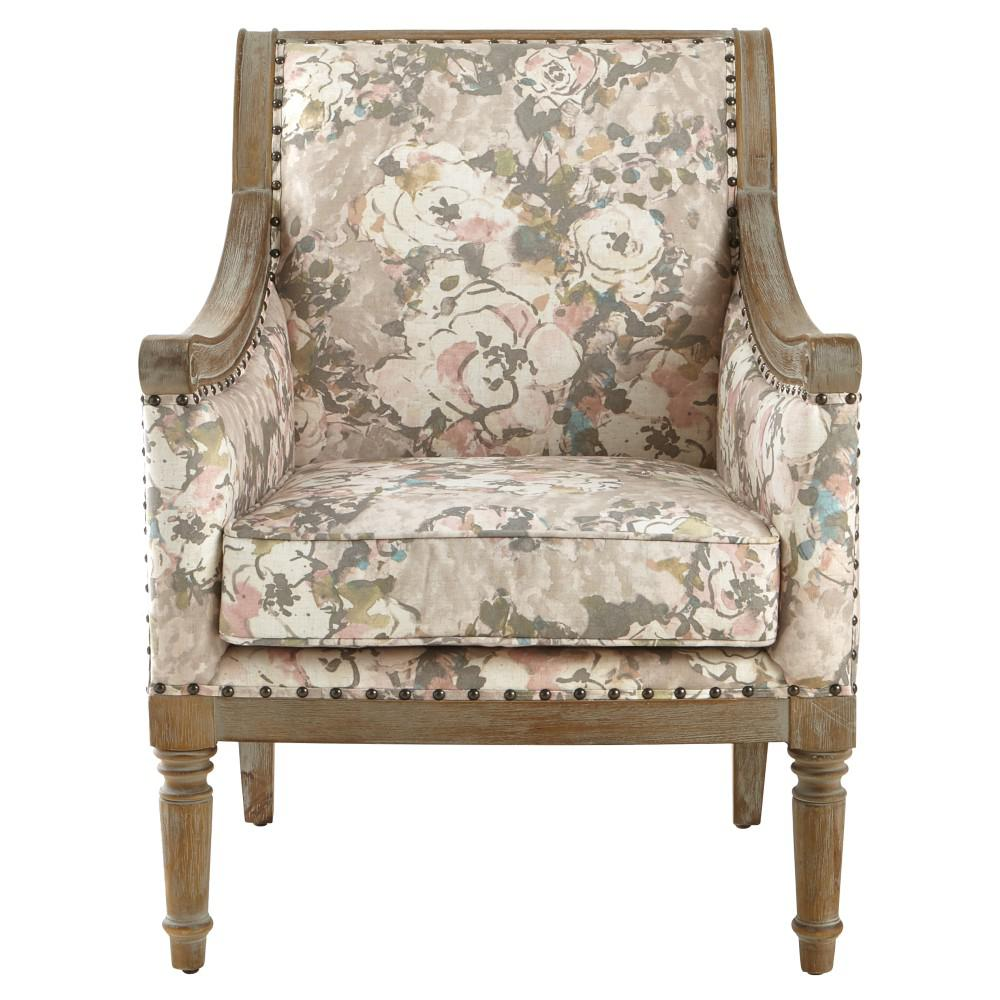Lucie Primrose Blush Rolled Back Upholstered Accent Chair