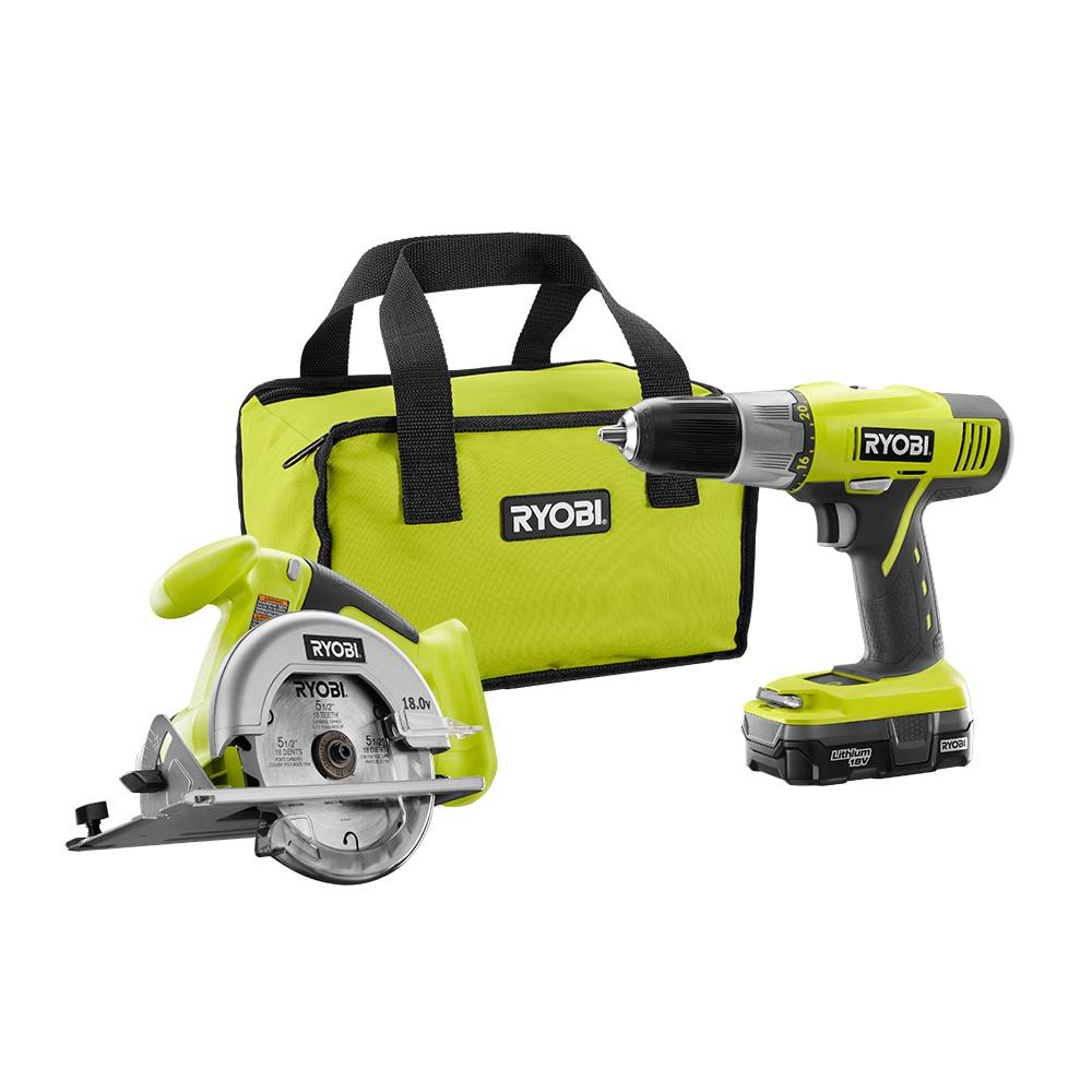 RYOBI 18-Volt ONE+ Lithium-Ion 2-Tool Combo Kit with Drill, Circular Saw, 1.3 Ah Battery, Dual Chemistry Charger, and Tool Bag