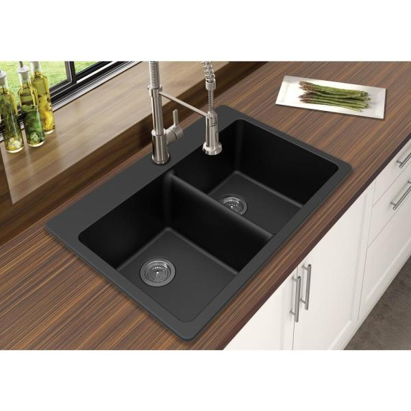 Winpro Dual Mount Granite Composite 33 In L X 22 In L X 9 5 In 0 5 Faucet Holes Double Equal Bowl Kitchen Sink In Black Wgdbl303 The Home Depot