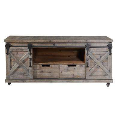 Presley 2-Drawer Driftwood Grey and 2-Door Open Center TV Stand
