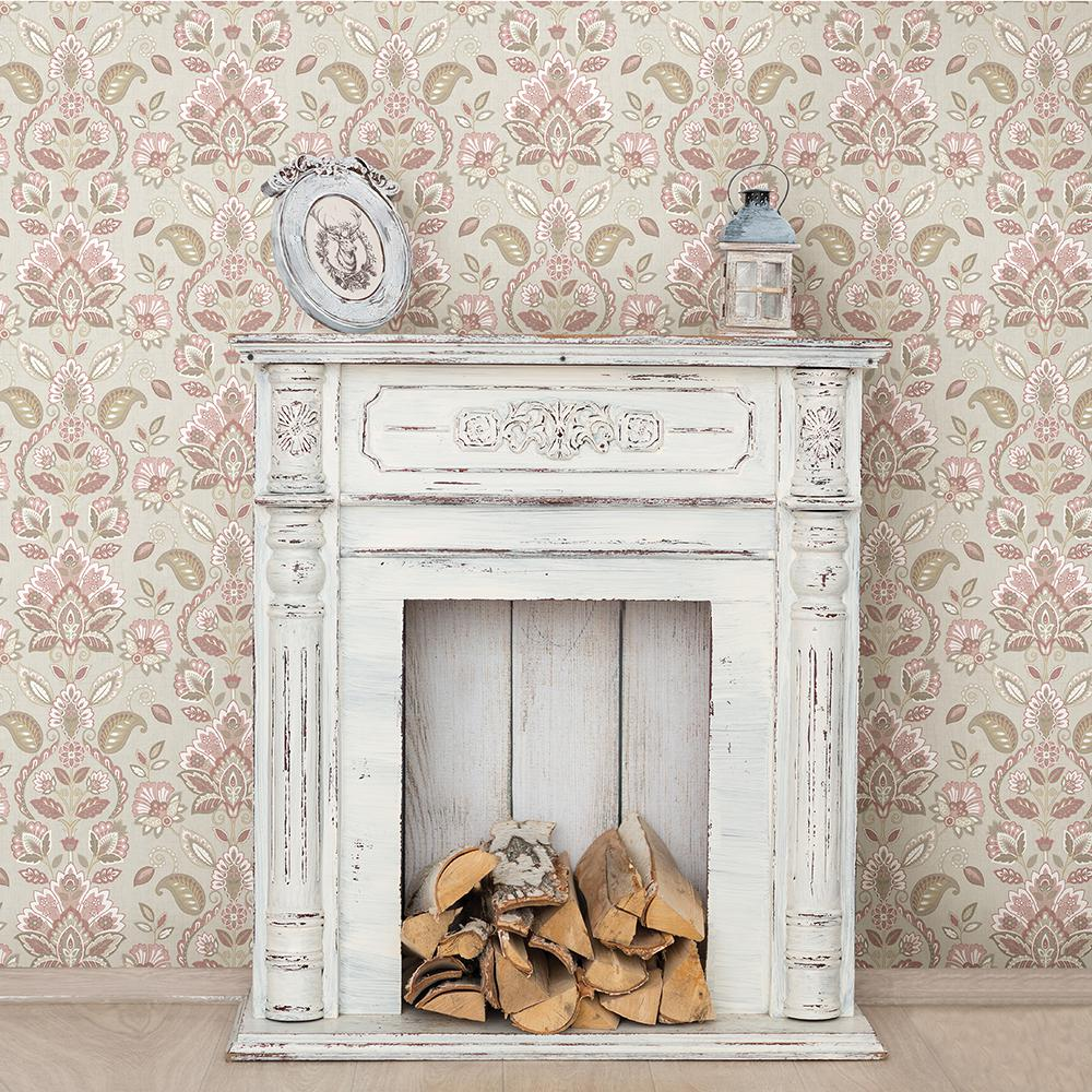 Chesapeake Rayleigh Pink Floral Damask Wallpaper