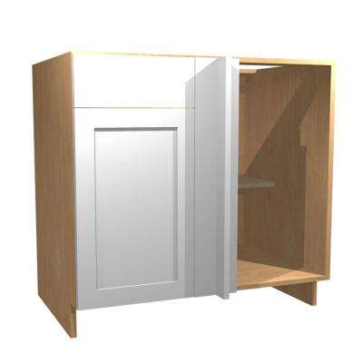 Ready to Assemble 36x34.5x24 in. Elice Blind Base Corner Cabinet with 1 Soft Close Door and 1 Soft Close Drawer in White