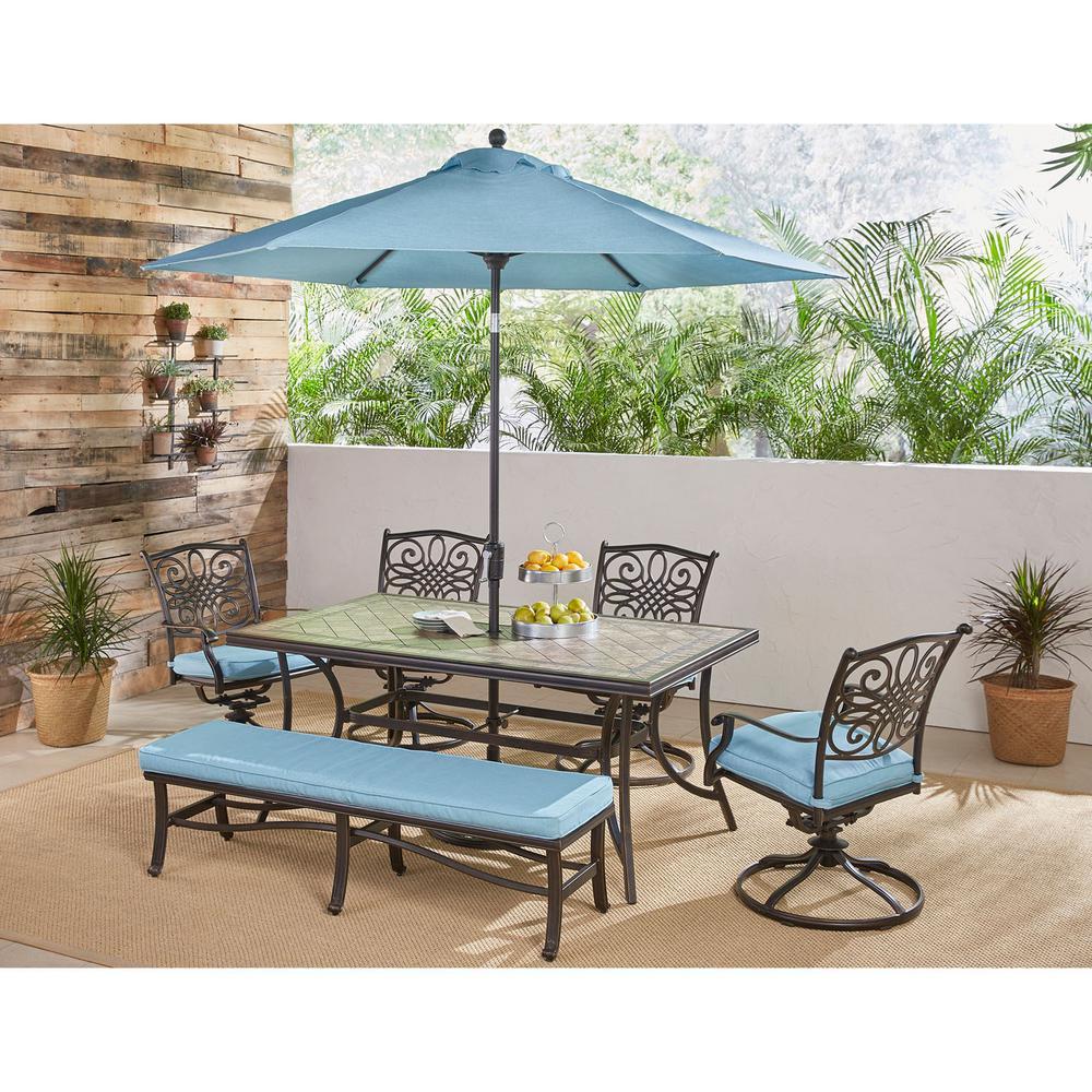 Hanover Patio Monaco Aluminum 6-Piece Bronze Rectangular Outdoor Dining Set with Blue Cushions and Umbrella Stand