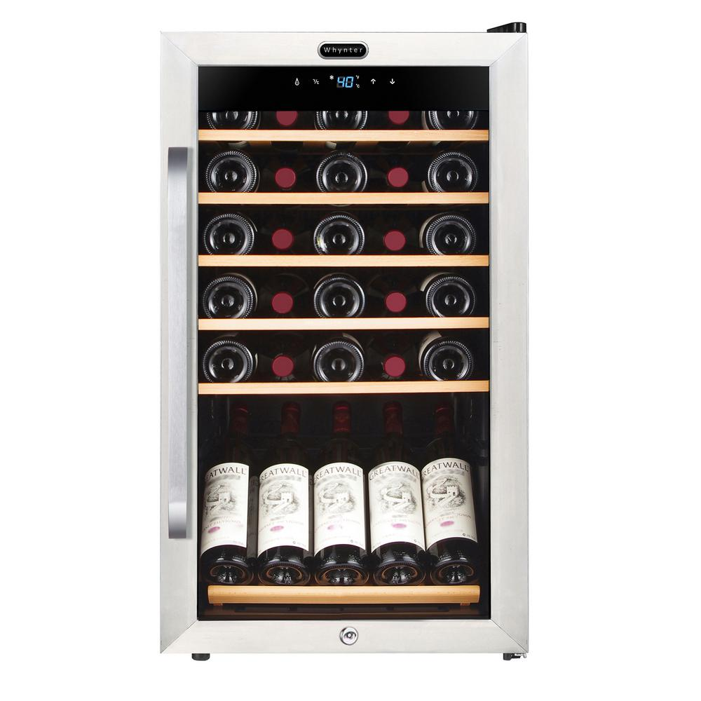 34 Bottle Freestanding Stainless Steel Wine Refrigerator With Display Shelf  And Digital Control ...