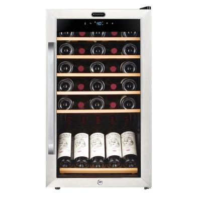 34-Bottle Freestanding Stainless Steel Wine Refrigerator with Display Shelf and Digital Control