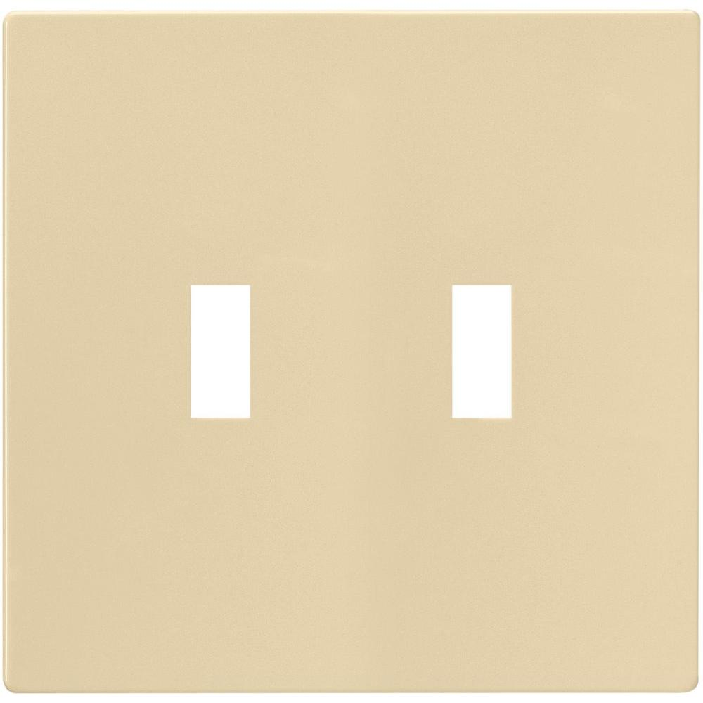 2-Gang Screwless Toggle Switch Mid-Size Wall Plate, Ivory
