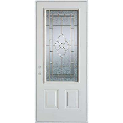 32 in. x 80 in. Traditional Brass 3/4 Lite 2-Panel Painted White Right-Hand Inswing Steel Prehung Front Door