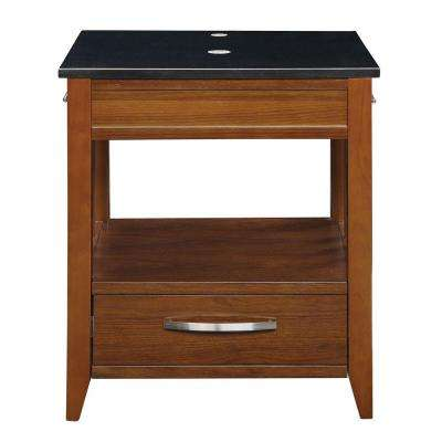 Ambrosia 24 in. W x 20 in. D x 28.5 in. H Vanity in Medium Walnut with Granite Vanity Top in Black