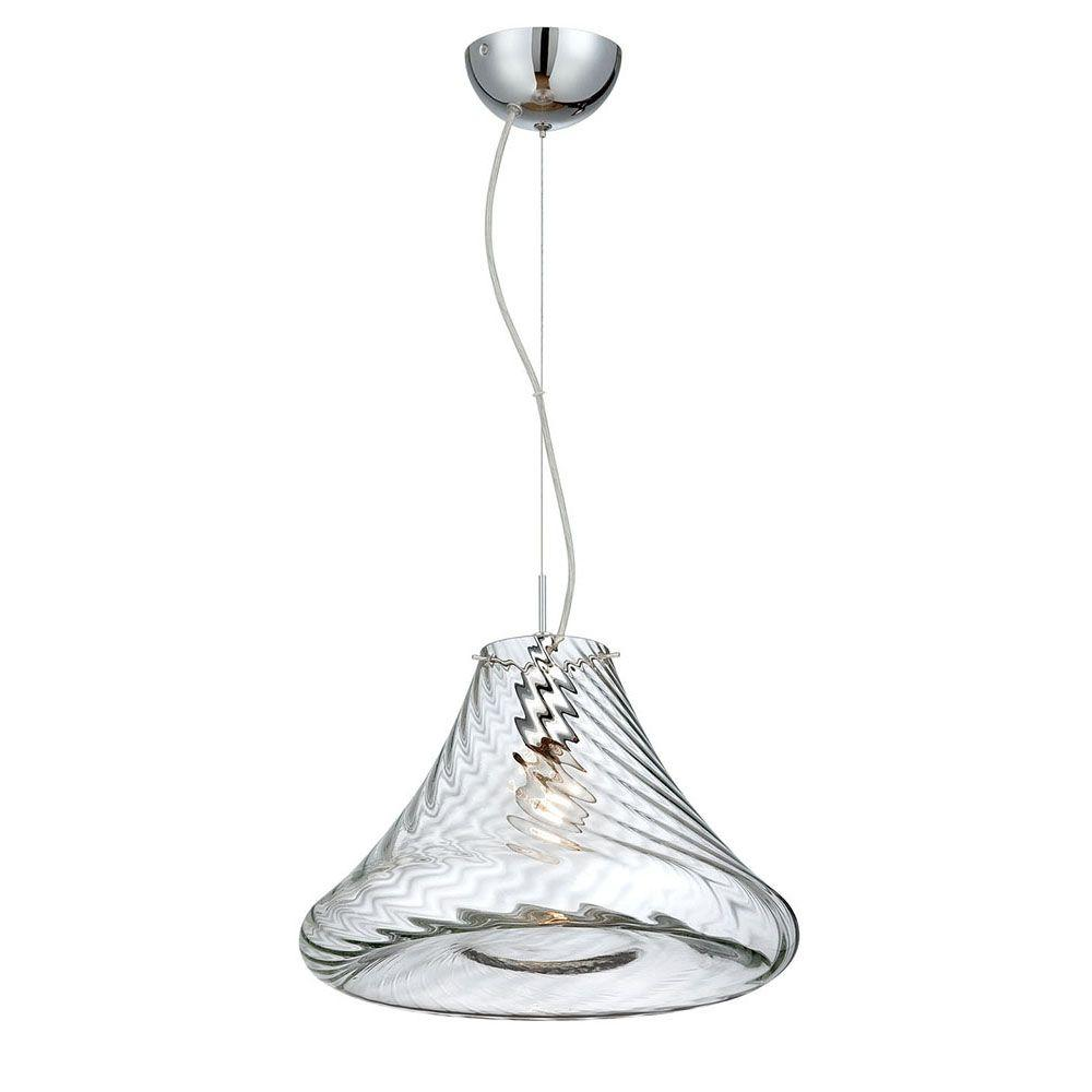 Bloor Collection 1-Light Chrome and Clear Large Pendant