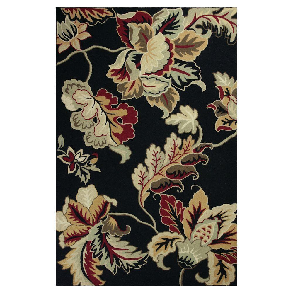 Kas Rugs Floral Overtones Black/Cream 8 ft. x 10 ft. 6 in. Area Rug