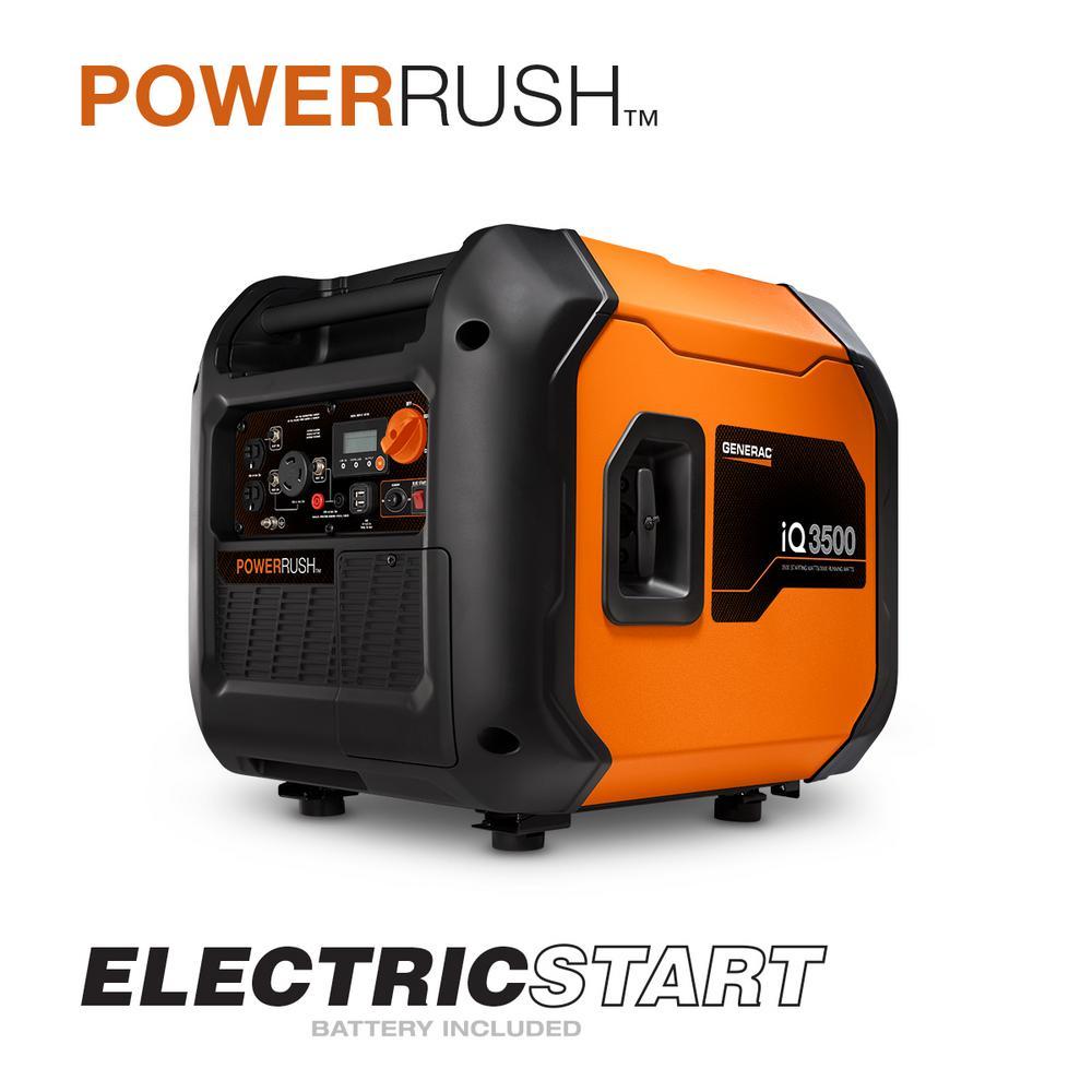 iQ3500 3500-Watt Gasoline Powered Electric Start Portable Inverter Generator with PowerRush Technology 50 State/CSA