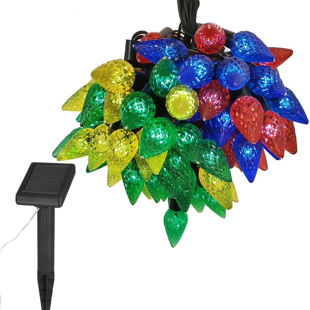 Festive Outdoor 36 ft. Solar Pine Novelty Bulb LED String Light with On or Flashing Settings
