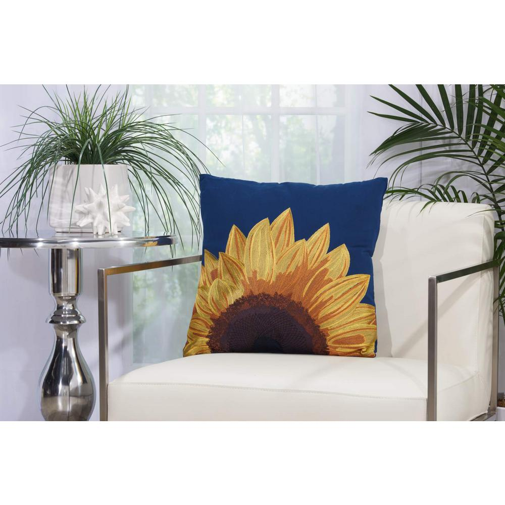 Embroidered Sunflower 18 in. x 18 in. Navy Indoor and Outdoor