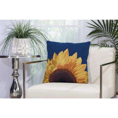 Embroidered Sunflower 18 in. x 18 in. Navy Indoor and Outdoor Pillow