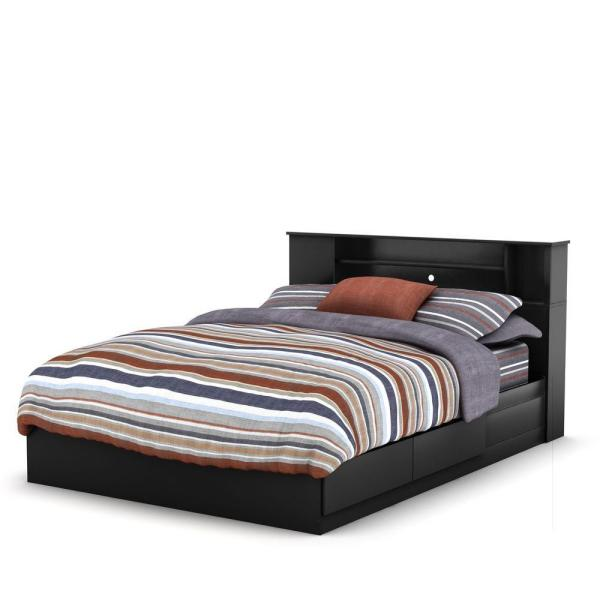 Queen Bed Frame With Storage.Vito 2 Drawer Pure Black Queen Size Storage Bed