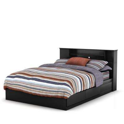 Vito 2-Drawer Pure Black Queen-Size Storage Bed