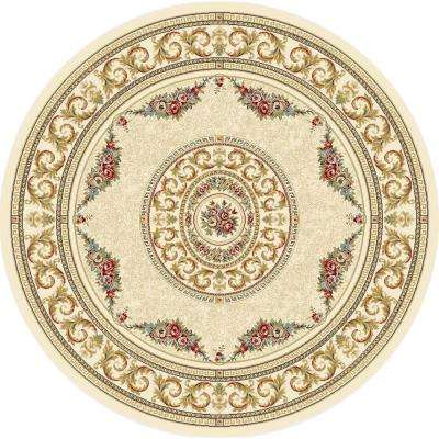 Winifred Ivory 5 ft. x 5 ft. Round Indoor Area Rug
