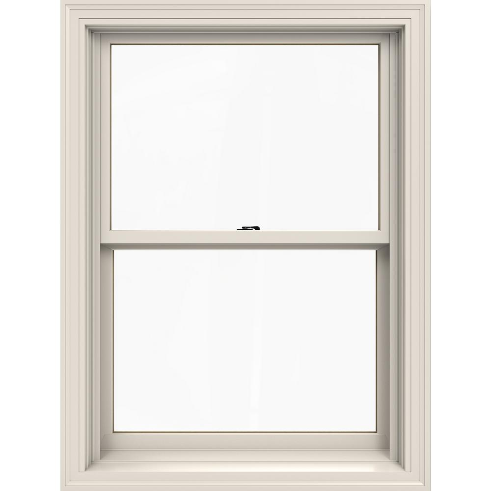 Jeld Wen 29375 In X 405 In W 2500 Series White Painted Clad Wood Double Hung Window W Natural Interior And Low E Glass