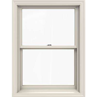 29.375 in. x 40.5 in. W-2500 Series White Painted Clad Wood Double Hung Window w/ Natural Interior and Low-E Glass
