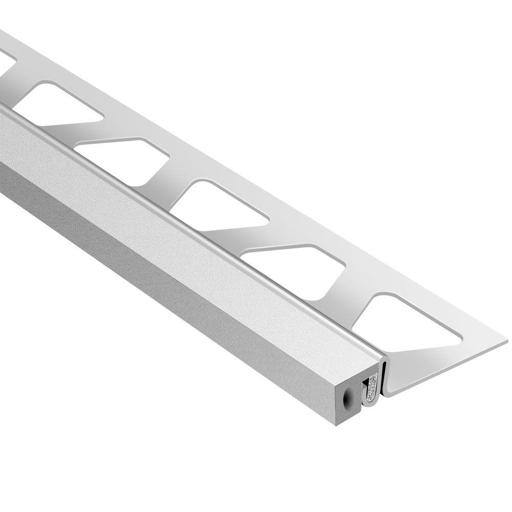 Schluter Dilex-KSA Stainless Steel with Classic Grey Insert 1 in. x 8 ft. 2-1/2 in. Metal Movement Joint Tile Edging Trim