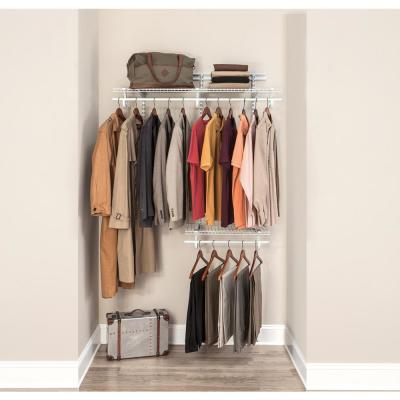 ShelfTrack 2 ft. to 4 ft. 13.4 in. D x 48.3 in. W x 49.3 in. H White Wire Steel Closet System Organizer Kit