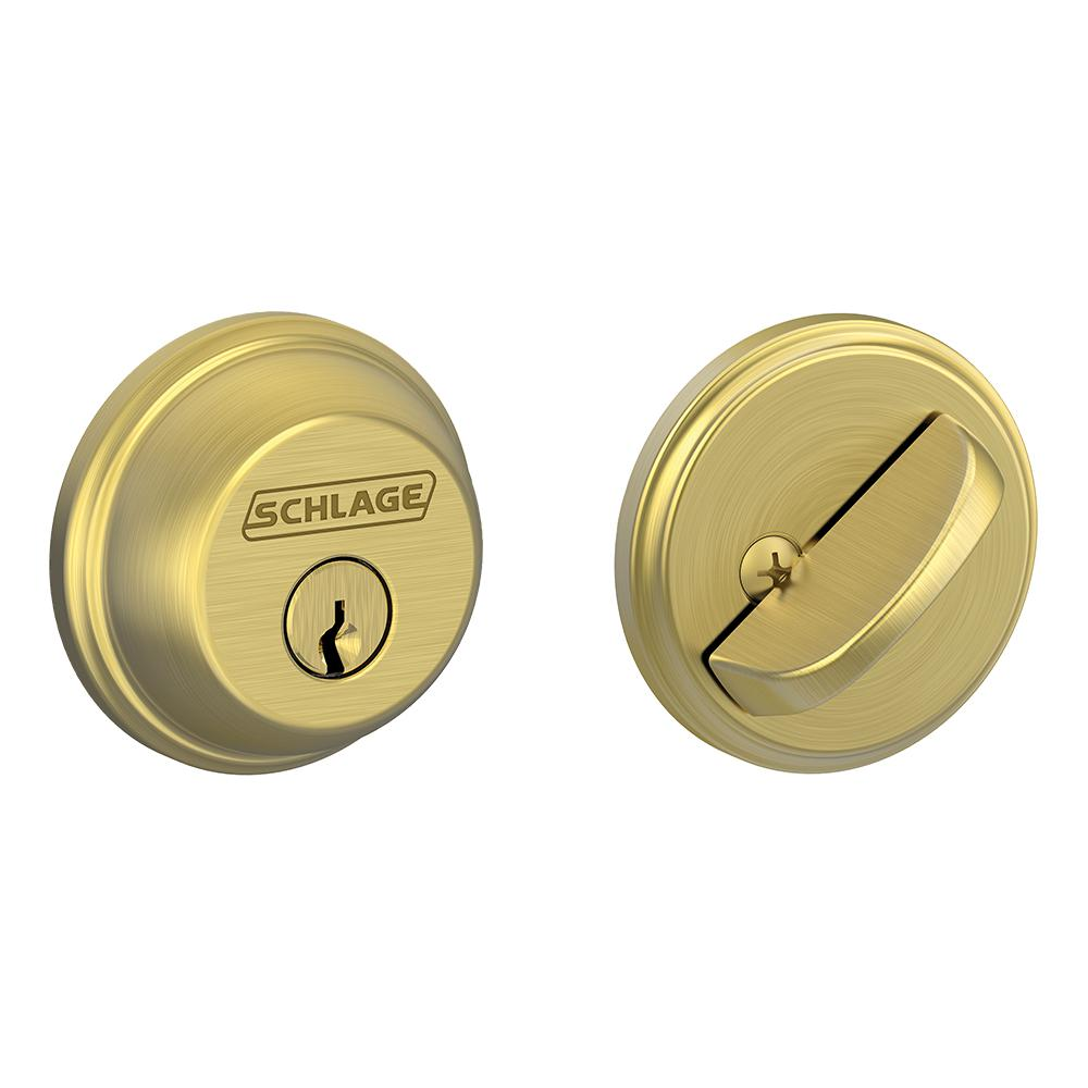 Schlage Satin Brass Single Cylinder Deadbolt B60 V 608