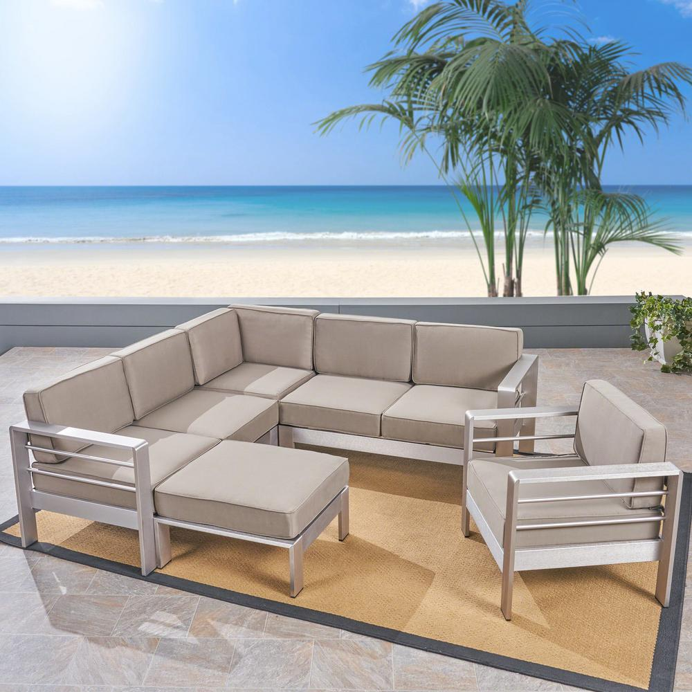 Noble House Cape Coral Silver 6-Piece Aluminum V-Shape Outdoor Sectional  Sofa Set with Ottoman and Khaki Cushion
