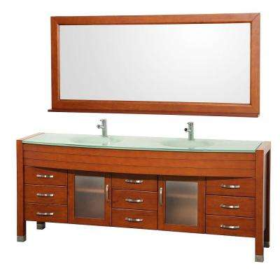 Daytona 78 in. Vanity in Cherry with Double Basin Glass Vanity Top in Aqua and Mirror