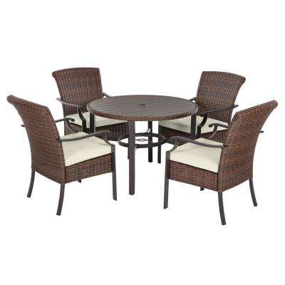 Harper Creek 5-Piece Brown Steel Outdoor Patio Dining Set with Bare Cushions