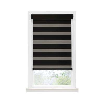 Cut-to-Width Black Celestial Room Darkening Cordless Double Layered Privacy Roller Shade - 43 in. W x 72 in. L
