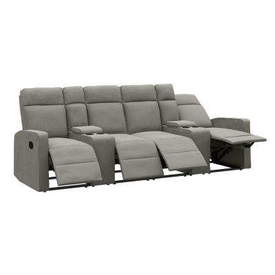 114 in. Warm Gray Solid Fabric 4 Seat Reclining Sofa with Cupholders and Storage Consoles