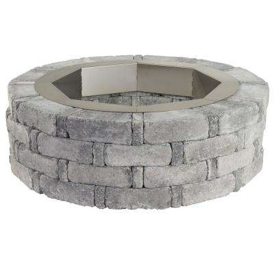 RumbleStone 46 in. x 14 in. Round Concrete Fire Pit Kit No. 2 in Greystone with Round Steel Insert